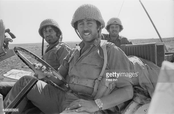 Israeli soldiers sitting in their vehicle during the Yom Kippur war