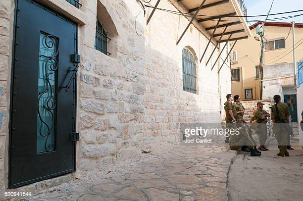 israeli soldiers touring safed, israel - safed stock photos and pictures