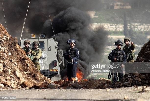 Israeli soldiers use plastic bullets and tear gas against Palestinians during the clashes after the Palestinians' demonstration against Israeli...