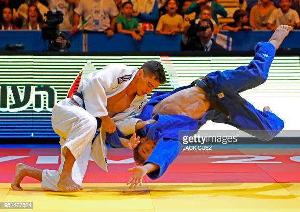 TOPSHOT Israeli Tal Flicker competes against Slovenian Adrian Gomboc in the men's 66 kg quarter final during the European Judo Championship in the...
