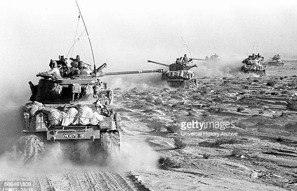 Israeli tanks advance toward Egyptian positions in the Sinai During the Six Day War June 4 1967