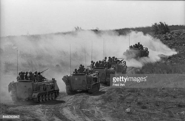 Israeli tanks driving in the field on the Golan Heights during the Yom Kippur war