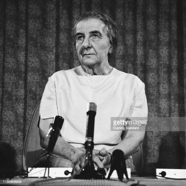 Israeli teacher and politician Golda Meir 4th Prime Minister of Israel at a press conference UK 17th June 1969