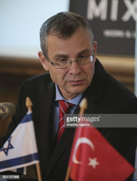 Israeli Tourism Minister Yariv Levin is seen during a joint press conference with Turkish Culture and Tourism Minister Nabi Avci after their talks at...