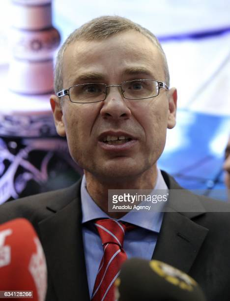 Israeli Tourism Minister Yariv Levin speaks to media during opening ceremony of the 23rd International Mediterranean Tourism Market at TLV Convention...