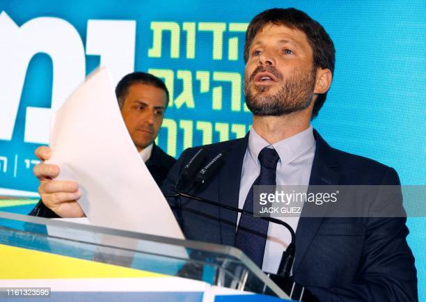 Israeli Transportation Minister Bezalel Smotrich attends the launch of the political party Yemina on August 12 2019 in the Israeli city of Ramat Gan...