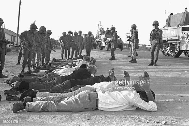 Israeli troops guard captured Egyptian troops and Palestinians at the start of the SixDay War on June 5 1967 in Rafah Gaza Strip Thirtyeight years...