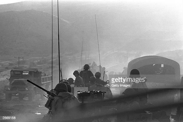 Israeli troops move into action against the invading Syrians October 8 1973 on the Golan Heights during the Yom Kippur War Current Israeli Prime...