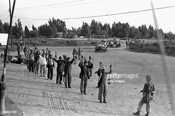 Israeli troops screen captured Egyptian troops and Palestinians at the start of the SixDay War June 5 1967 in Rafah Gaza Strip Thirtyeight years...
