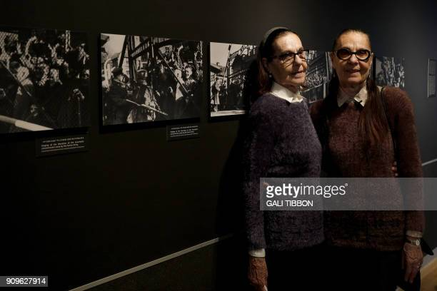 Israeli twins Lia Huber and Judith Barnea, who survived the holocaust and the experiments of the Nazi doctor Josef Mengele in Auschwitz, stand...