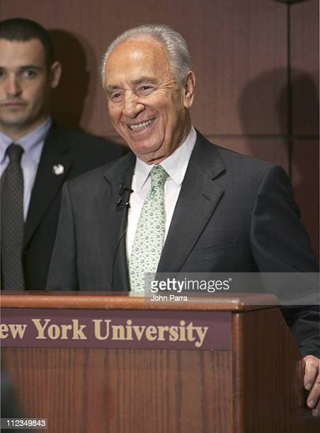 """Israeli Vice Prime Minister and Nobel Peace Prize Winner Shimon Peres appears as mtv U surprise """"Stand In"""" Professor"""" at New York University in New..."""