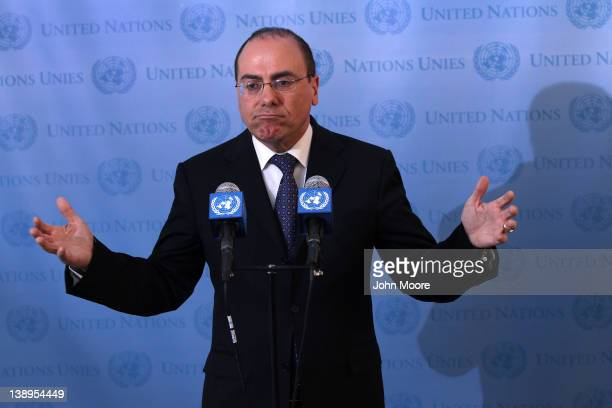 Israeli Vice Prime Minister Silvan Shalom holds a press conference after meeting with UN General Secretary Ban Ki-moon at the United Nations...