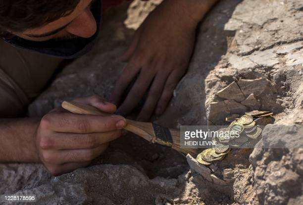 Israeli worker Oz Cohen carefully brushes away the dirt from a hoard of gold coins dating to the Abbasid Caliphate, during a press presentation of...