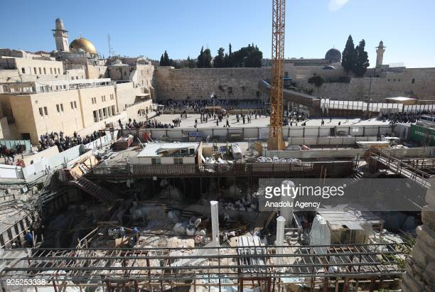 Israeli workers conduct an excavation work under the AlAqsa Mosque in Jerusalem on February 28 2018