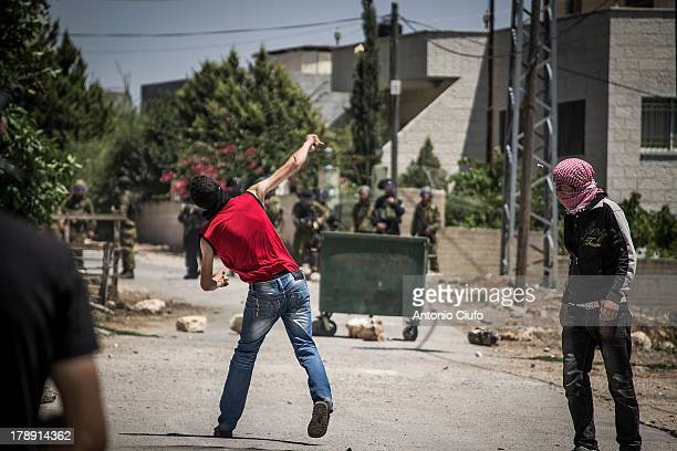 Israeli-Palestinian conflict. Clashes between Palestinian demonstrators and the Israeli army at Kafr Qaddum demonstration. In this village, near...