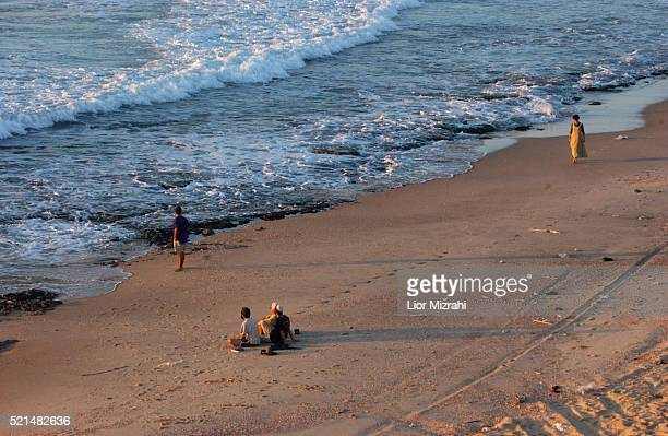 Israelis are seen on the beach of the Gush Katif Settlement Block within the Gaza Strip Thursday August 11 2005