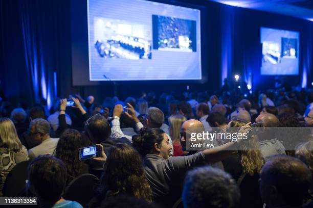 Israelis gather in a party to watch Beresheet spacecraft landing on the moon on April 11 2019 in Tel Aviv Israel The Israeli spacecraft called...
