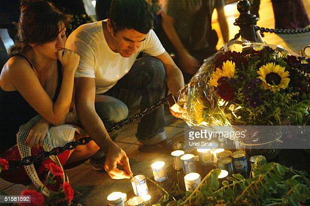 Israelis light candles at the Rabin memorial to mark the ninth anniversary of the Prime Minister's murder on October 27 2004 in Tel Aviv Israel...