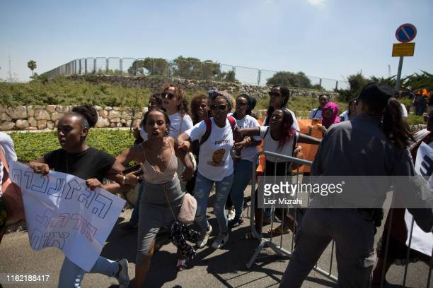 Israelis of Ethiopian origin take part in a protest outside the Knesset on July 15 2019 in Jerusalem Israel The protests follow the death of a young...