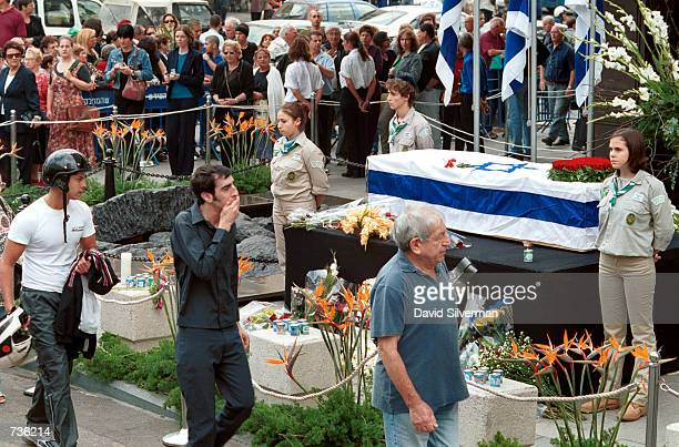 Israelis pay their last respects as they walk past the flag-draped coffin of Leah Rabin, wife of assassinated former Prime Minister Yitzhak Rabin,...