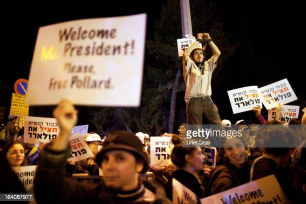 Israelis protest against US President Barack Obama as they call for the release of Jonathan Pollard, a Jewish American who was jailed for life in...