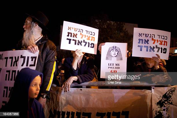 Israelis protest against U.S. President Barack Obama as they call for the release of Jonathan Pollard, a Jewish American who was jailed for life in...