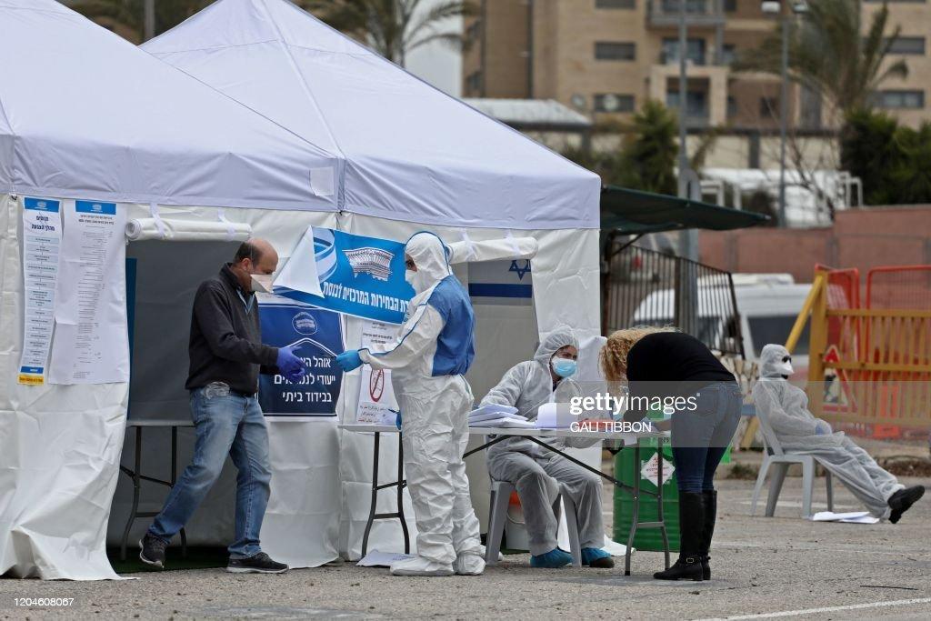 ISRAEL-VOTE-HEALTH-VIRUS : News Photo