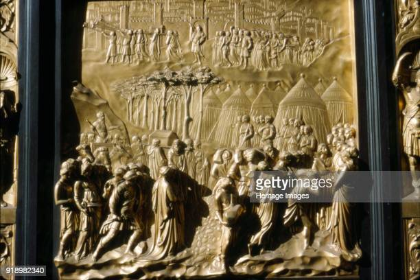 Israelities Take Jericho detail of Baptistry Door Florence Italy c15th century The Fall of Jerichoin Baptistry of San Giovanni by Lorenzo Ghiberti...