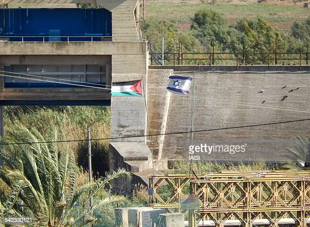 israel-jordan border at the bridge of naharayim - king hussein stock pictures, royalty-free photos & images