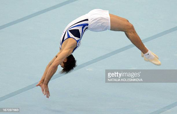 Israel's Alexander Shatilov competes on the floor in the men's apparatus artistic gymnastics finals during the 5th European Men's and Women's...