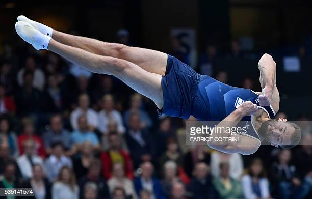Israels Alexander Shatilov performs during the Mens Floor competition of the European Artistic Gymnastics Championships 2016 in Bern Switzerland on...