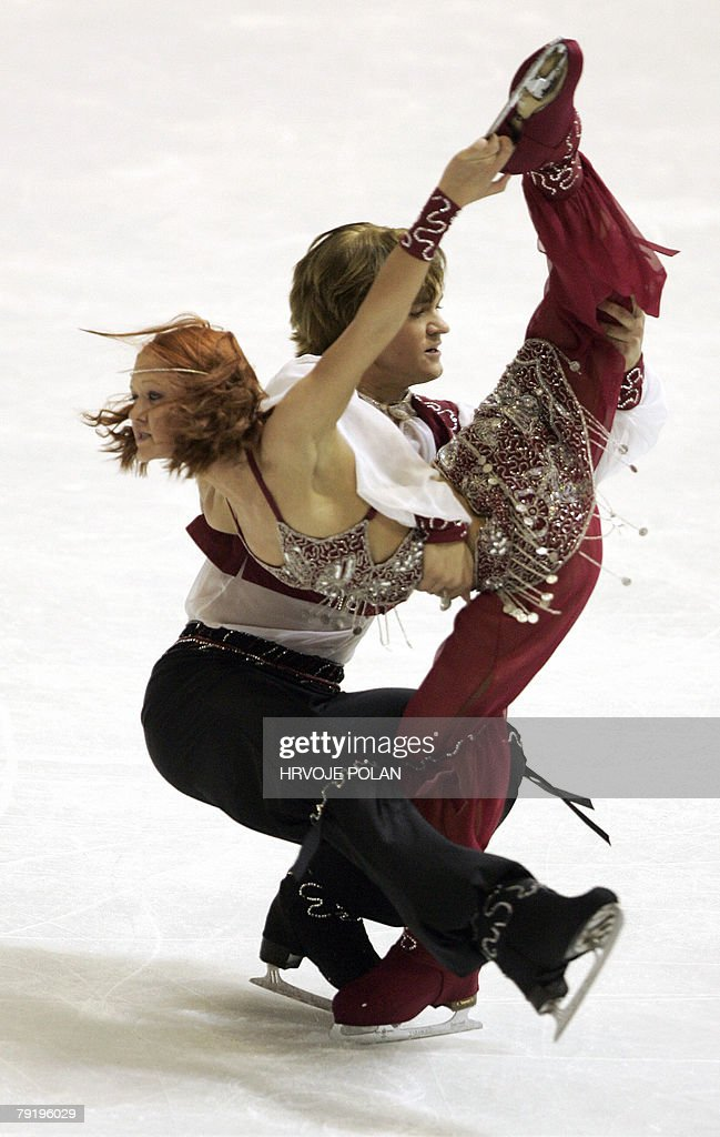 Israel's Alexandra and Roman Zaretski perform their original dance at the Dom Sportova Arena in Zagreb, 24 January 2008, during the European Figure Skating Championships 2008.