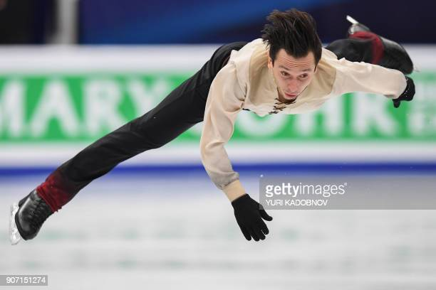 TOPSHOT Israel's Alexei Bychenko performs in the men's free skating at the ISU European Figure Skating Championships in Moscow on January 19 2018 /...