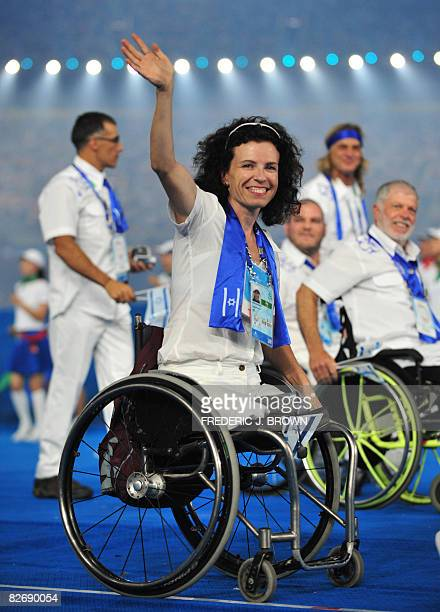 Israel's athletes parade during the opening ceremony for the 2008 Beijing Paralympic Games at the National Stadium also known as the Bird's Nest in...