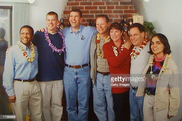 Israel's first astronaut Ilan Ramon and six members of his Columbia crew Astronauts Michael P Anderson William C McCool Rick D Husband David M Brown...