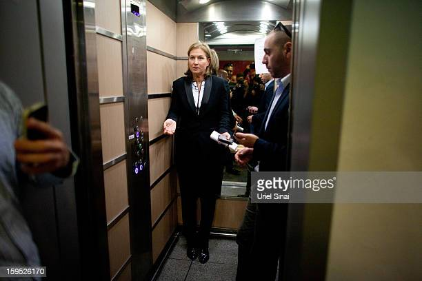 Israel's former foreign minister Tzipi Livni now head of the new political party 'The Movement' after giving a press conference at her party's...