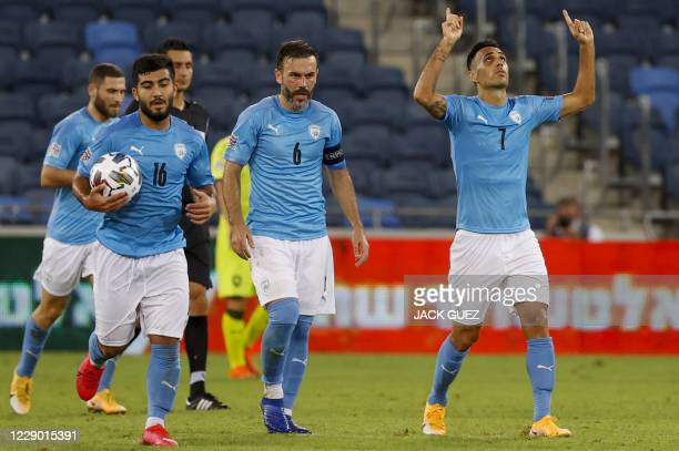 Israel's forward Eran Zahavi celebrates his goal during the UEFA Nations League Group B2 football match between the Israel and Czech Republic at the...