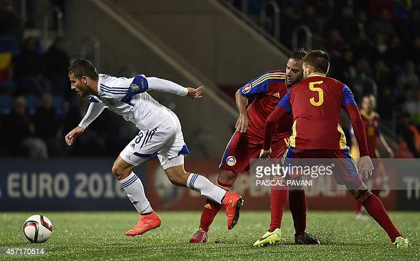 Israel's forward Tomer Hemed vies with opponents during the Euro 2016 group D qualifying football match between Andorra and Israel on October 13 at...