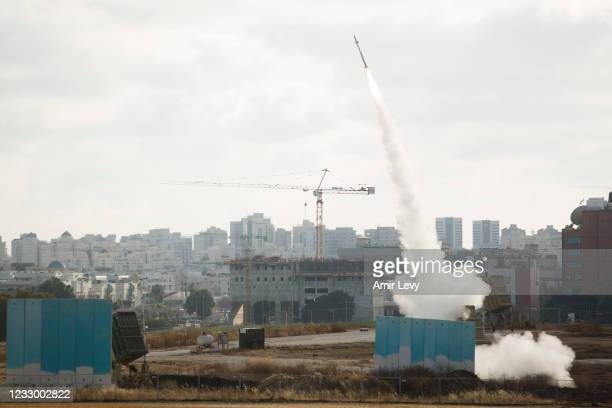 Israel's Iron Dome anti missle system launches to intercept a rocket on May 20, 2021 in Sderot, Israel. The Hamas-run health ministry in Gaza says...