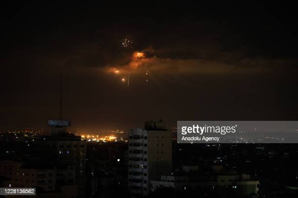 Israel's Iron Dome defence system, intercepts and neutralises missiles launched from Gaza City, Gaza after Israel hit several positions of Hamas in...