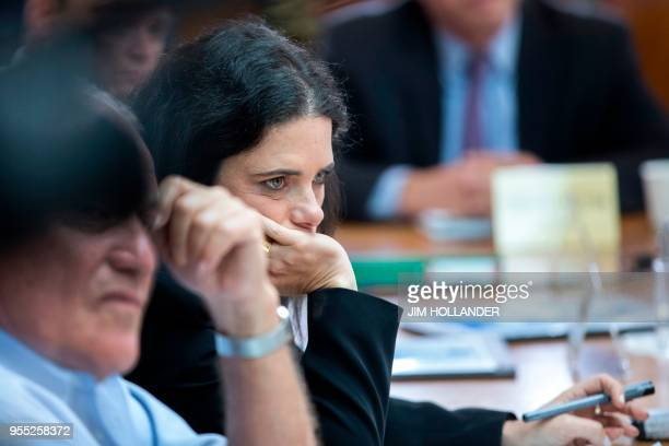 Israel's Justice Minister Ayelet Shaked listens to Prime Minister Benjamin Netanyahu as he chairs a weekly cabinet meeting in Jerusalem on May 6 2018...