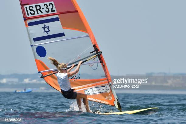 Israel's Katy Spychakov competes in the women's windsurfing RSX class competition during a sailing test event for the Tokyo 2020 Olympic Games off...