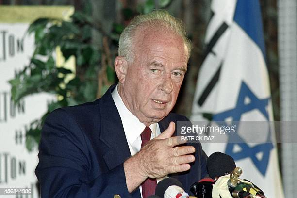 Israel's Labor party leader Yitzhak Rabin gestures during a press conference on June 26, 1992. Rabin is expected to form a new government in the next...