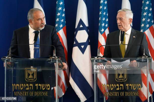 Israel's Minister of Defense Avigdor Lieberman and US Defense Secretary James Mattis hold a joint news conference at the Ministry of Defense on April...