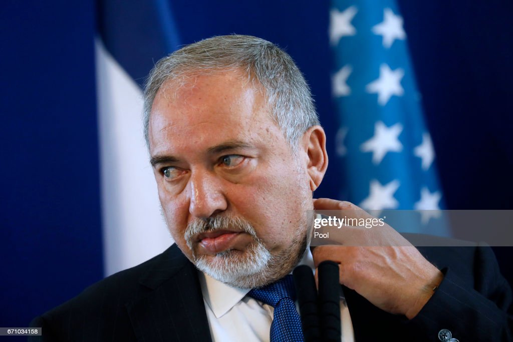Israel's Minister of Defense Avigdor Lieberman And U.S. Defense Secretary James Mattis Hold Joint News Conference : News Photo