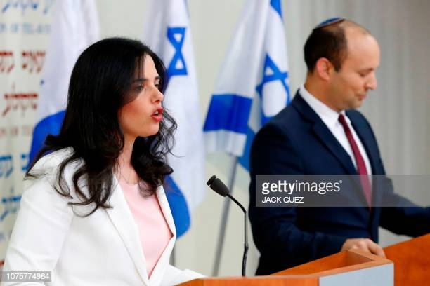 Israel's Minister of Education Naftali Bennett and Israeli Justice Minister Ayelet Shaked announce the formation of new political party HaYemin...
