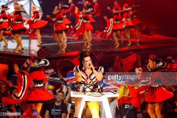 Israel's Netta Barzilai the winner of last year's Eurovision contest performs during the opening ceremony of the first semifinal of the 64th edition...