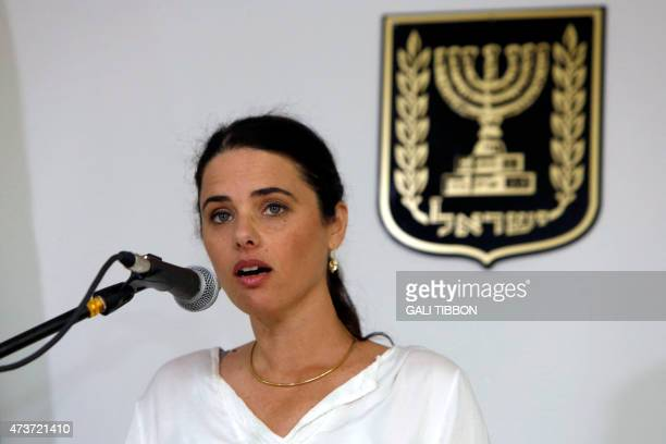 Israel's newlyappointed Justice Minister Ayelet Shaked gives a speech during a ceremony welcoming her at the Justice Ministry on May 17 2015 in...