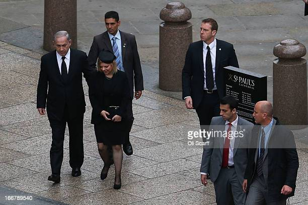 Israel's Prime minister Benjamin Netanyahu and his wife Sara Netanyahu attend the Ceremonial funeral of former British Prime Minister Baroness...