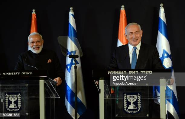 Israel's Prime Minister Benjamin Netanyahu and Indian Prime Minister Narendra Modi hold a joint press conference following their meeting in Jerusalem...